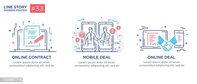 Set of illustrations concept with businessmen. Workflow, growth, graphics. Business development, milestones. linear illustration Icons infographics. Landing page site print poster. Eps vector. Line story