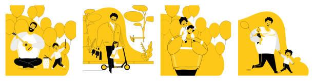 eine reihe von illustrationen vater und kind. - hausmannskost stock-grafiken, -clipart, -cartoons und -symbole