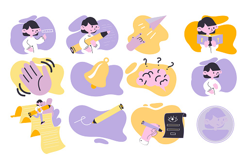 A set of illustrations for the design of a mobile application. Twelve pictures for the design of the educational platform.
