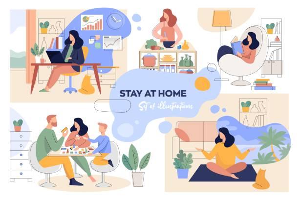 bildbanksillustrationer, clip art samt tecknat material och ikoner med en uppsättning illustrationer för stay-at-home konceptet. hemmakontor, fritid, läsning och familjetid - arbeta köksbord man