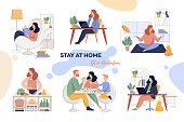A set of illustrations for the stay-at-home concept. Home office, leisure, reading and family time