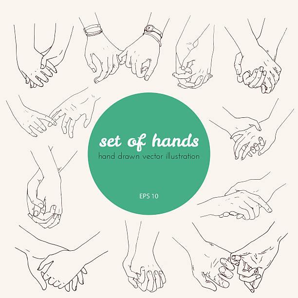 illustrazioni stock, clip art, cartoni animati e icone di tendenza di serie di illustrazioni tenere le mani coppia di amanti o amici. - mano donna dita unite