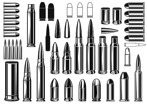 Set of Illustrations of bullets and cartridges in vintage monochrome style. Design element for label, sign, emblem, poster. Vector illustration