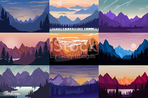 Set of illustrations of cartoon mountain landscapes. Design element for poster, card, banner, flyer. Vector illustration