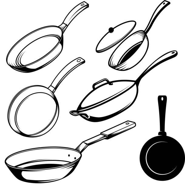bildbanksillustrationer, clip art samt tecknat material och ikoner med uppsättning illustrationer av kokkärl i gravyr stil. designelement för affisch, etikett, skylt, emblem, meny. vektorillustration - frying pan
