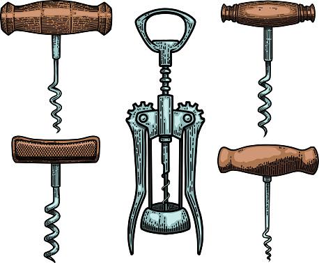 Set of Illustrations of corkscrew in engraving style. Design element for poster, card, banner, sign. Vector illustration