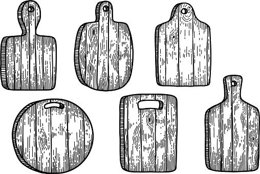 Set of illustrations of kitchen boards in engraving style. Design element for poster, card, banner, sign. Vector illustration