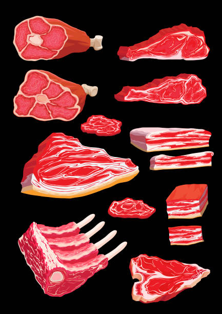 A set of illustrations of meat products vector art illustration