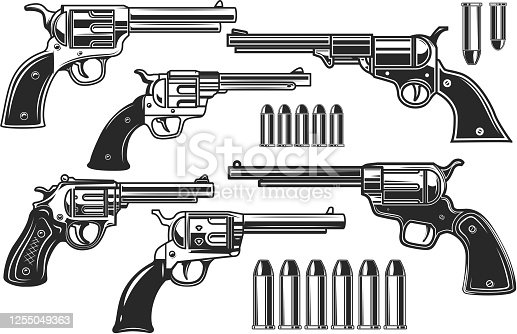 istock Set of illustrations of revolvers and cartridges. Design element for label, sign, poster, t shirt. Vector illustration 1255049363