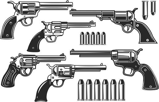 Set of illustrations of revolvers and cartridges. Design element for label, sign, poster, t shirt. Vector illustration