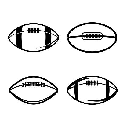 Set of Illustrations of rugby balls in vintage monochrome style. Design element for label, sign, emblem, poster. Vector illustration