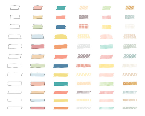 Set of illustrations of various colors and patterns of washi tape