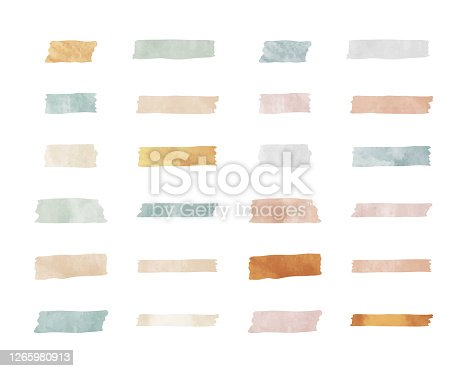 istock Set of illustrations of various colors and patterns of washi tape 1265980913