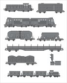 A set of illustrations on the topic of trucking by rail