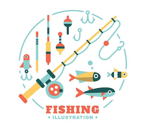 set of illustrations on the theme fishing vector art illustration