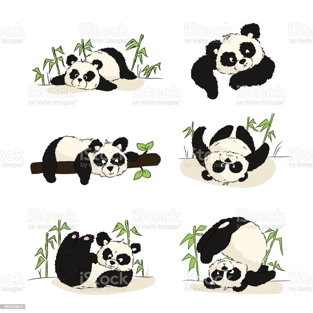 Une Série Dillustrations Avec Un Petit Panda Panda Dormir