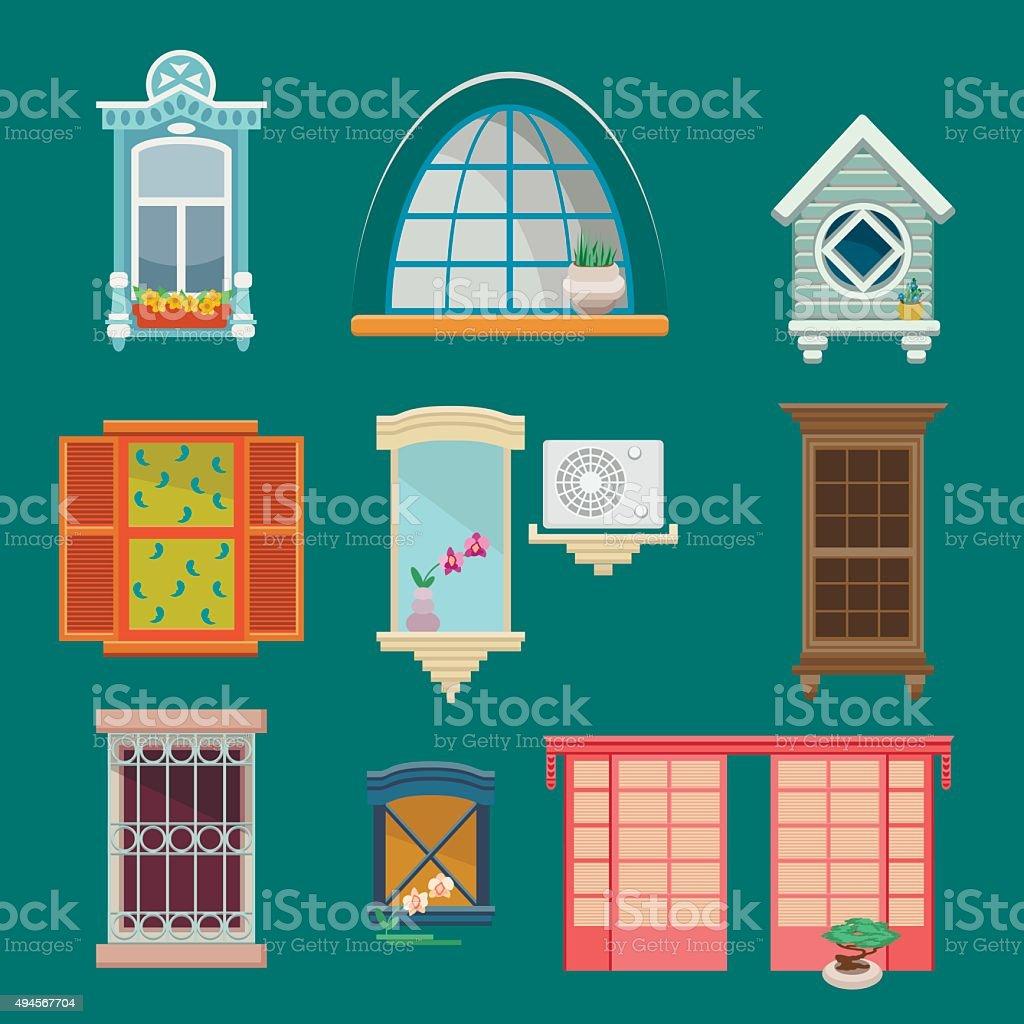 Set of illustrations with a vintage windows vector art illustration