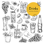 set of illustrations with non-alcoholic drinks. coffee, lemonade, cocktails, smoothies. hand drawn illustrations for drinks menu card