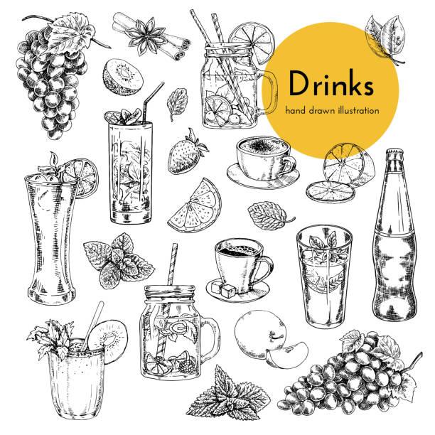 무알코올 음료와 함께 일러스트 세트. 커피, 레모네이드, 칵테일, 스무디. 음료 메뉴 카드에 대한 손으로 그린 그림 - 레모네이드 stock illustrations