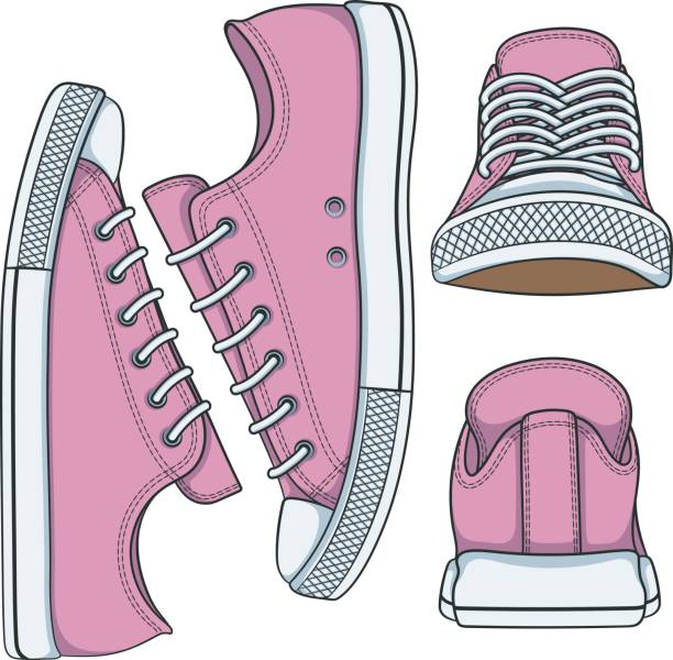 illustrationen mit rosa turnschuhe - schuhe für sport und freizeit stock-grafiken, -clipart, -cartoons und -symbole