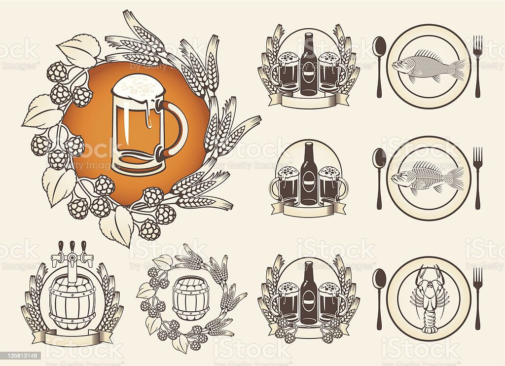 set of images for a beer royalty-free stock vector art