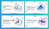 Set of images for presentation, business, startup, infographics. Isometric 3 d illustrations. Templates. Backgrounds.