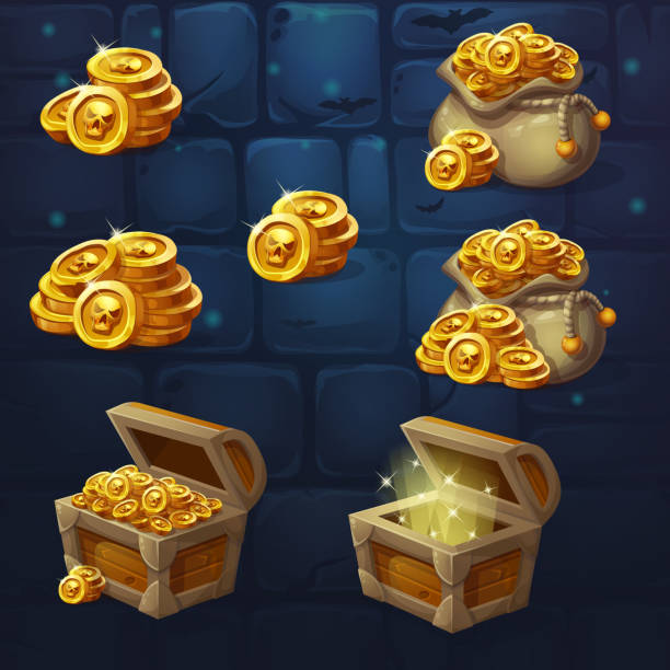 Set of images of a handful of coins Set of wooden chests with coins for the game UI. Vector cartoon illustration of a bunch of mountains of gold coins on the background of dark brick. Full, empty chest, bag with coins. antiquities stock illustrations