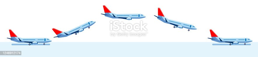 A set of images of an airplane on the runway, in flight, and landing. Vector set of icons on the theme of air transportation.