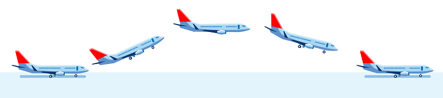 A set of images of an airplane on the runway, in flight, and landing.