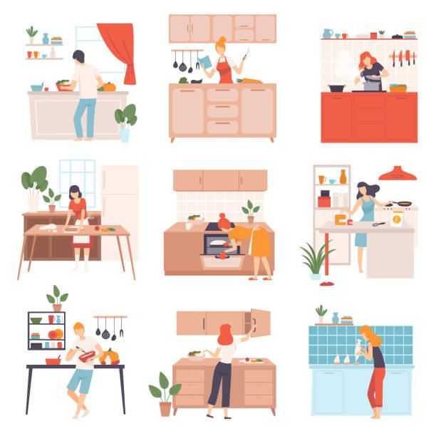 ilustrações de stock, clip art, desenhos animados e ícones de set of images of cooking people. vector illustration - cooker happy