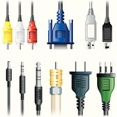 Set of images of multimedia cables