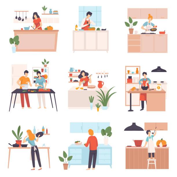 illustrazioni stock, clip art, cartoni animati e icone di tendenza di set di immagini di persone in cucina. illustrazione vettoriale - cucinare