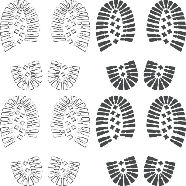 Set of images with a footprint of shoes. Isolated vector objects. vector art illustration