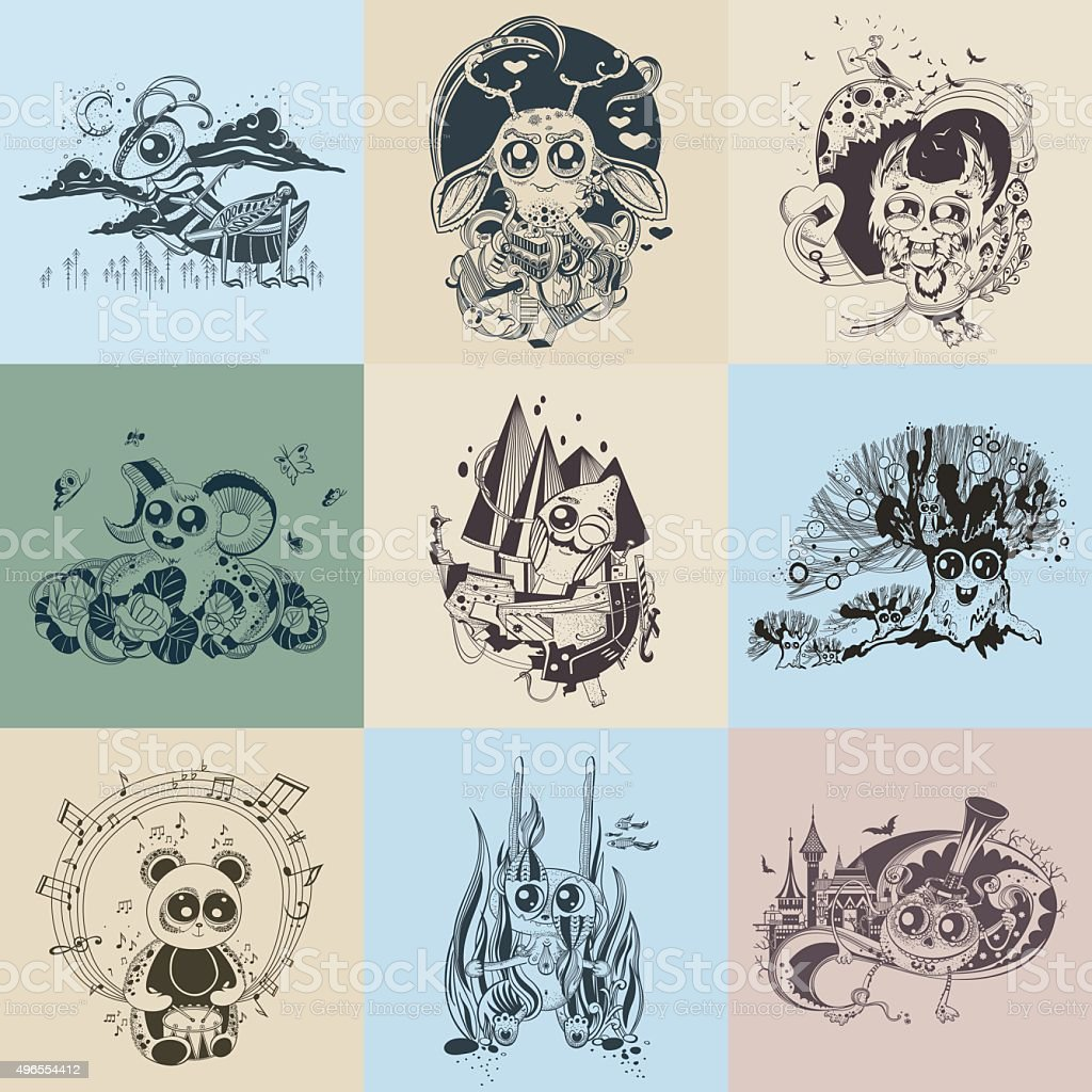 Set of images with painted fantastic creatures cartoonish vector art illustration