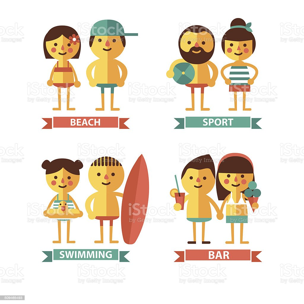 Set of images with the characters on the beach theme vector art illustration