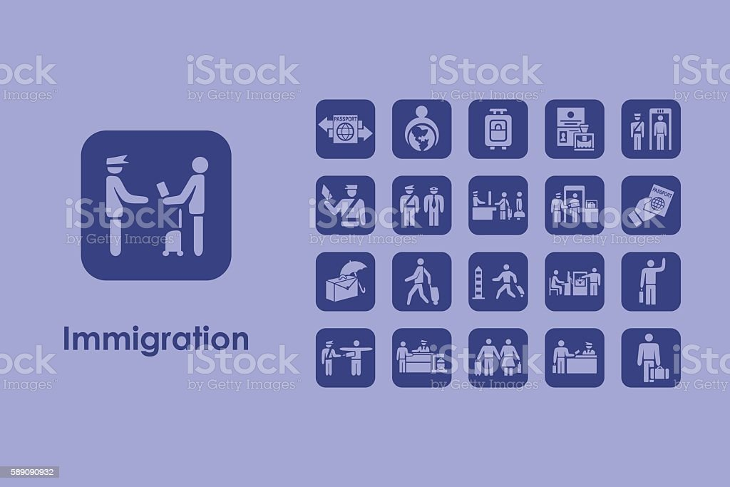 Set of immigration simple icons vector art illustration