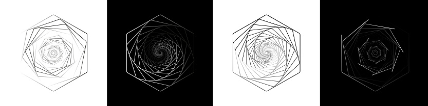 A set of impossible shapes. Optical illusion. Abstract shapes. Minimal geometric logo. Vector illustration EPS 10