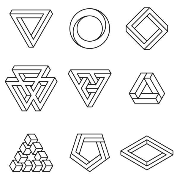 set of impossible shapes. optical illusion. vector illustration isolated on white. sacred geometry. black lines on a white background - золотое сечение stock illustrations