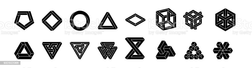 Set of impossible shapes. Optical Illusion. Vector Illustration isolated on white. Sacred geometry. White shapes on a black background vector art illustration