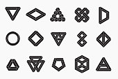 Set of impossible shapes, un-expanded strokes