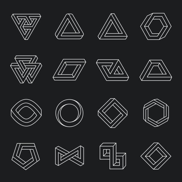 Set of impossible shapes vector art illustration