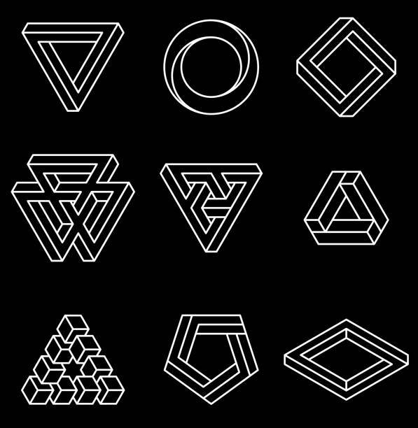 set of impossible shapes. - сетка фибоначчи stock illustrations