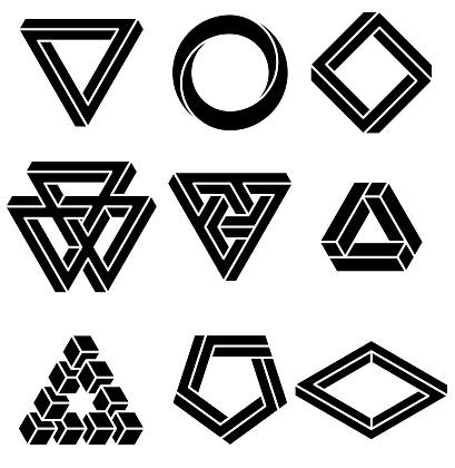 Set Of Impossible Shapes — стоковая векторная графика и другие изображения на тему 3D печать