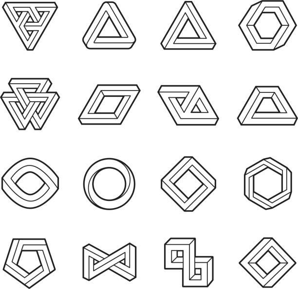 Set of impossible shapes. Web design elements. Optical Illusion. Line design. Vector illustration EPS 10 Set of impossible shapes. Web design elements. Optical Illusion. Line design. Vector illustration EPS 10 fantasy stock illustrations