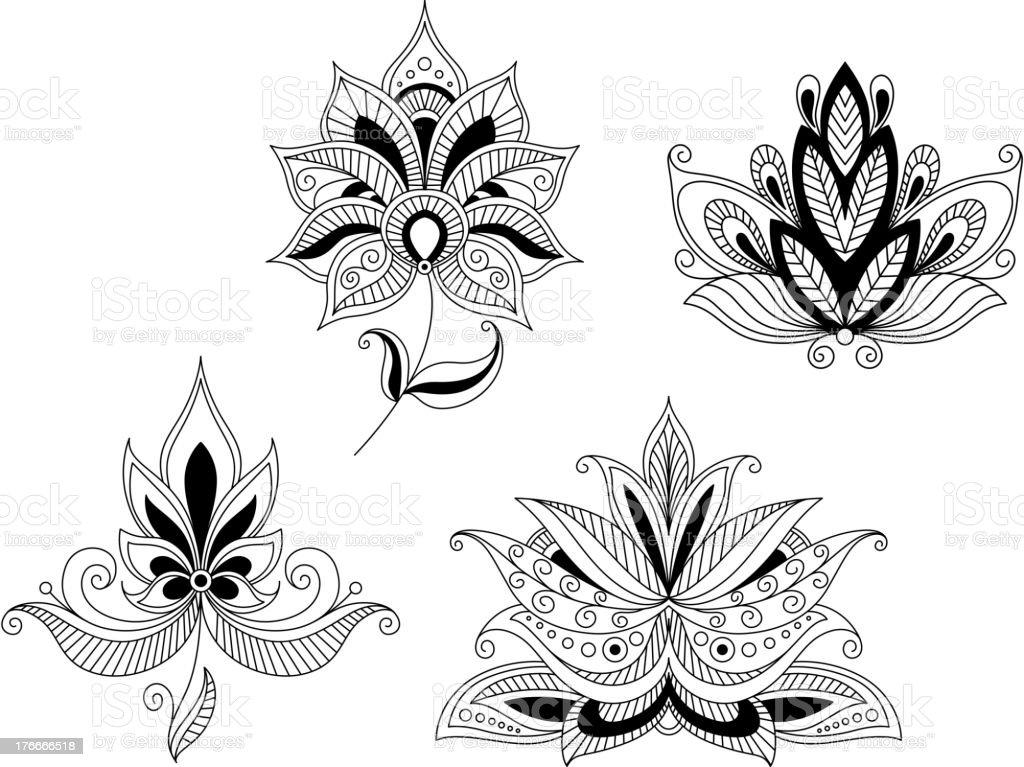 Conjunto de cerezos en flor flores de la India y persa ilustración de conjunto de cerezos en flor flores de la india y persa y más banco de imágenes de arabesco - diseño libre de derechos