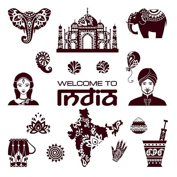 satz von indianischen symbolen - elefantenkunst stock-grafiken, -clipart, -cartoons und -symbole