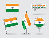 Set of Indian pin, icon and map pointer flags. Vector