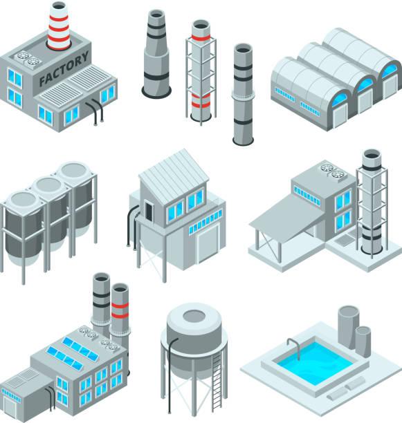 illustrations, cliparts, dessins animés et icônes de ensemble de bâtiments industriels ou d'usine. photos en 3d isométriques - infographie industrie manufacture production