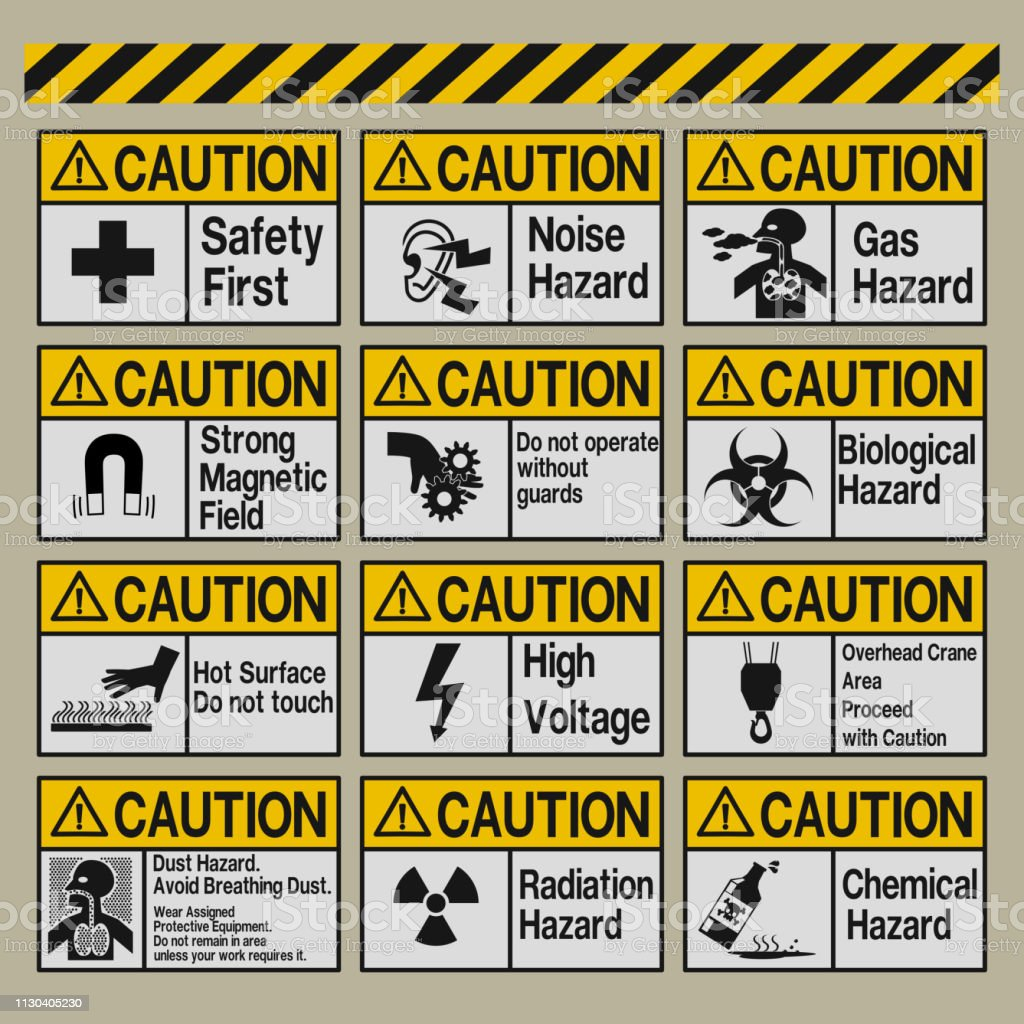 Set of Industrial warning sign vector art illustration