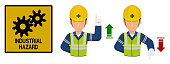 Set of industrial worker is gesturing hand sign ( increase,decrease)